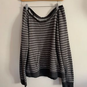 Vans Gray Striped Pull Over Sweater Boat Neck